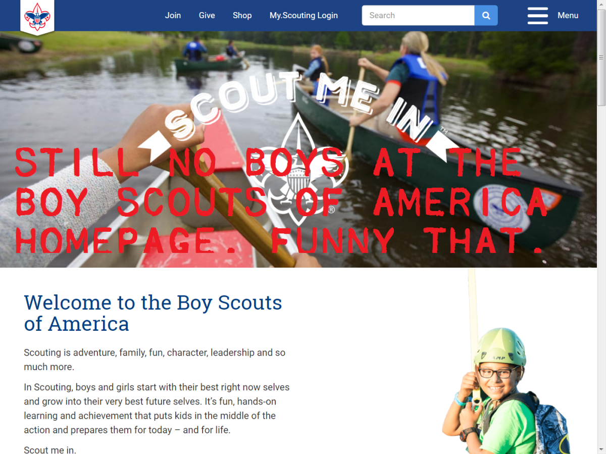 """Still """"No Boys Scouts"""" at BSAhomepage"""